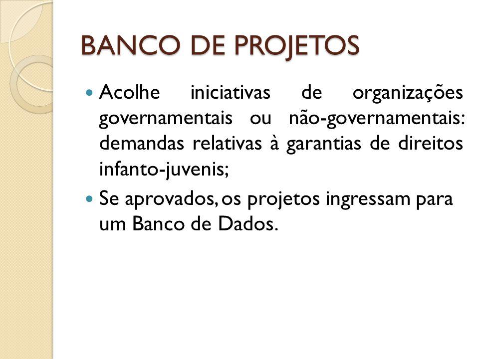 BANCO DE PROJETOS Acolhe iniciativas de organizações governamentais ou não-governamentais: demandas relativas à garantias de direitos infanto-juvenis; Se aprovados, os projetos ingressam para um Banco de Dados.