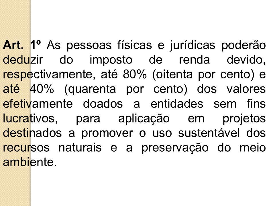 Art. 1º As pessoas físicas e jurídicas poderão deduzir do imposto de renda devido, respectivamente, até 80% (oitenta por cento) e até 40% (quarenta po