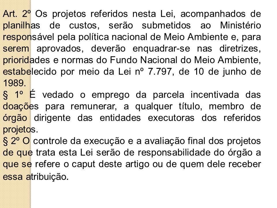Art. 2º Os projetos referidos nesta Lei, acompanhados de planilhas de custos, serão submetidos ao Ministério responsável pela política nacional de Mei