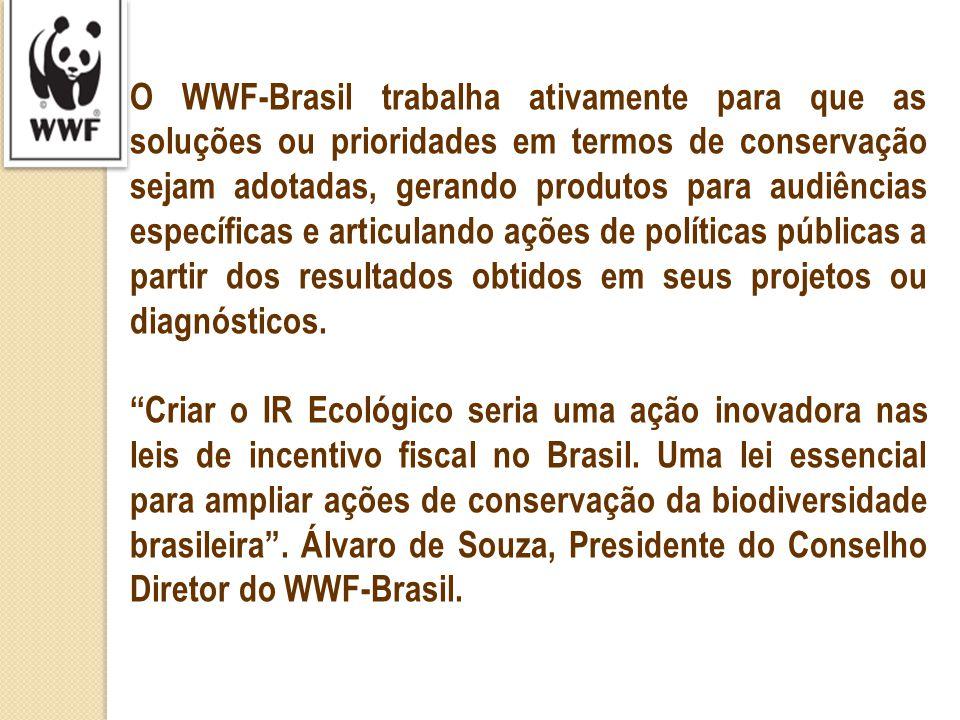 O WWF-Brasil trabalha ativamente para que as soluções ou prioridades em termos de conservação sejam adotadas, gerando produtos para audiências específicas e articulando ações de políticas públicas a partir dos resultados obtidos em seus projetos ou diagnósticos.