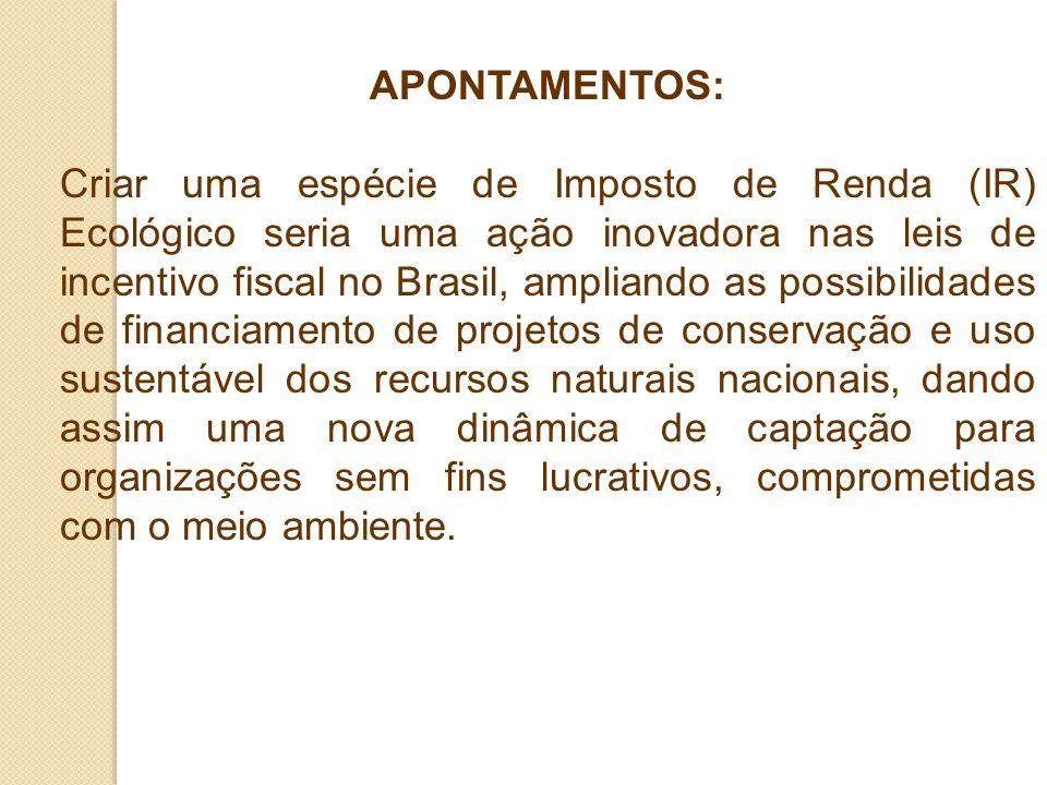 APONTAMENTOS: Criar uma espécie de Imposto de Renda (IR) Ecológico seria uma ação inovadora nas leis de incentivo fiscal no Brasil, ampliando as possi
