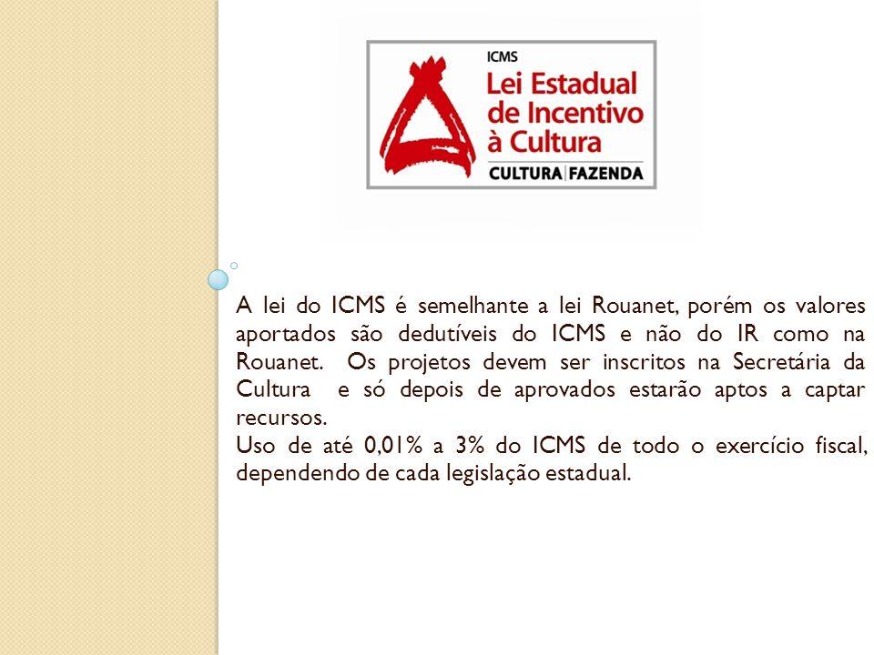 A lei do ICMS é semelhante a lei Rouanet, porém os valores aportados são dedutíveis do ICMS e não do IR como na Rouanet. Os projetos devem ser inscrit
