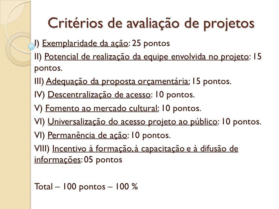 Critérios de avaliação de projetos I) Exemplaridade da ação: 25 pontos II) Potencial de realização da equipe envolvida no projeto: 15 pontos.
