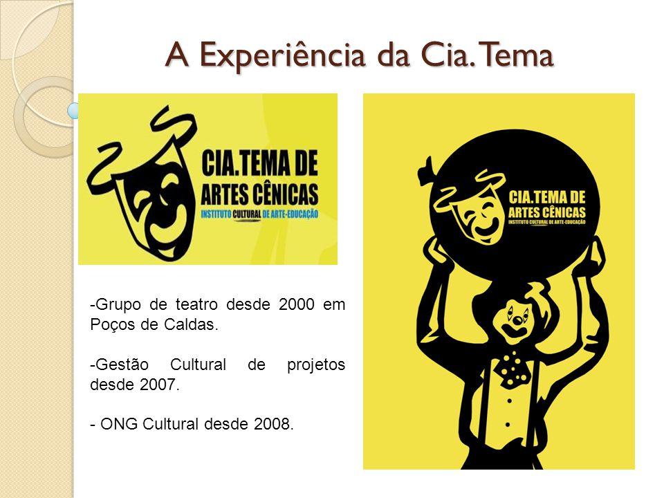 A Experiência da Cia. Tema -Grupo de teatro desde 2000 em Poços de Caldas. -Gestão Cultural de projetos desde 2007. - ONG Cultural desde 2008.