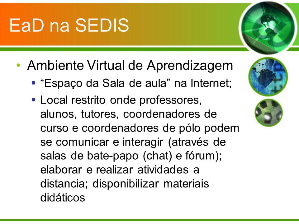 EaD na SEDIS Ambiente Virtual de Aprendizagem Espaço da Sala de aula na Internet; Local restrito onde professores, alunos, tutores, coordenadores de c