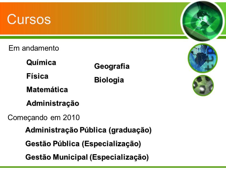Cursos QuímicaFísicaMatemáticaAdministração Em andamento Começando em 2010 Administração Pública (graduação) Gestão Pública (Especialização) Gestão Mu