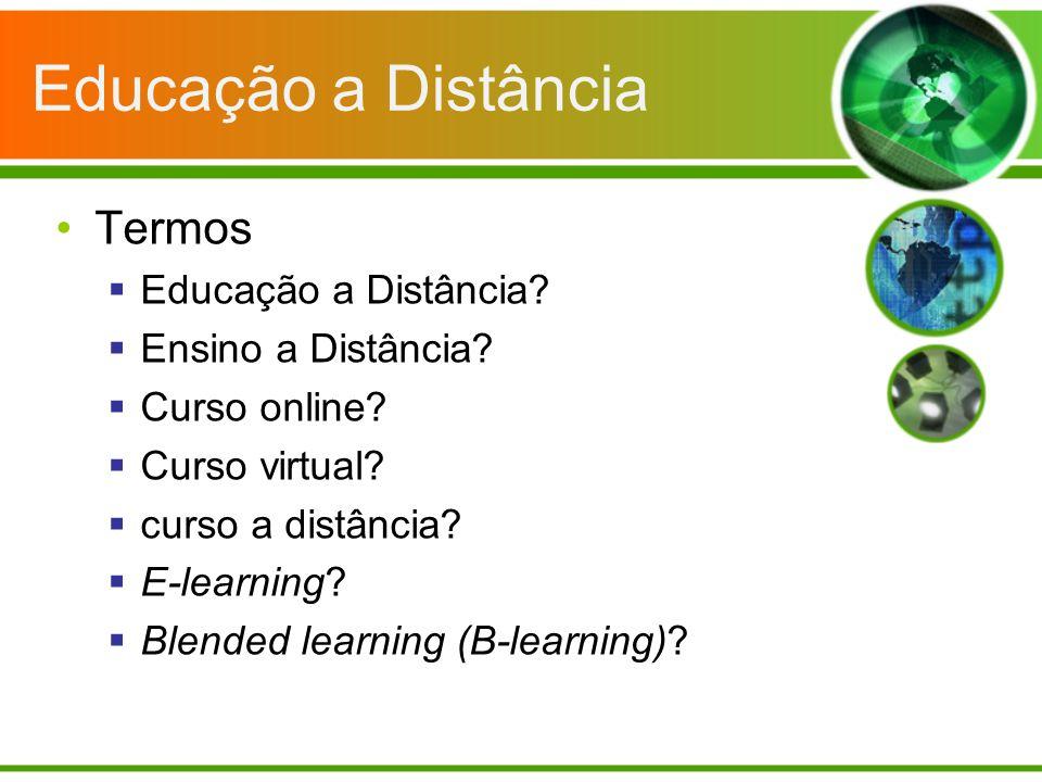 Educação a Distância Termos Educação a Distância? Ensino a Distância? Curso online? Curso virtual? curso a distância? E-learning? Blended learning (B-