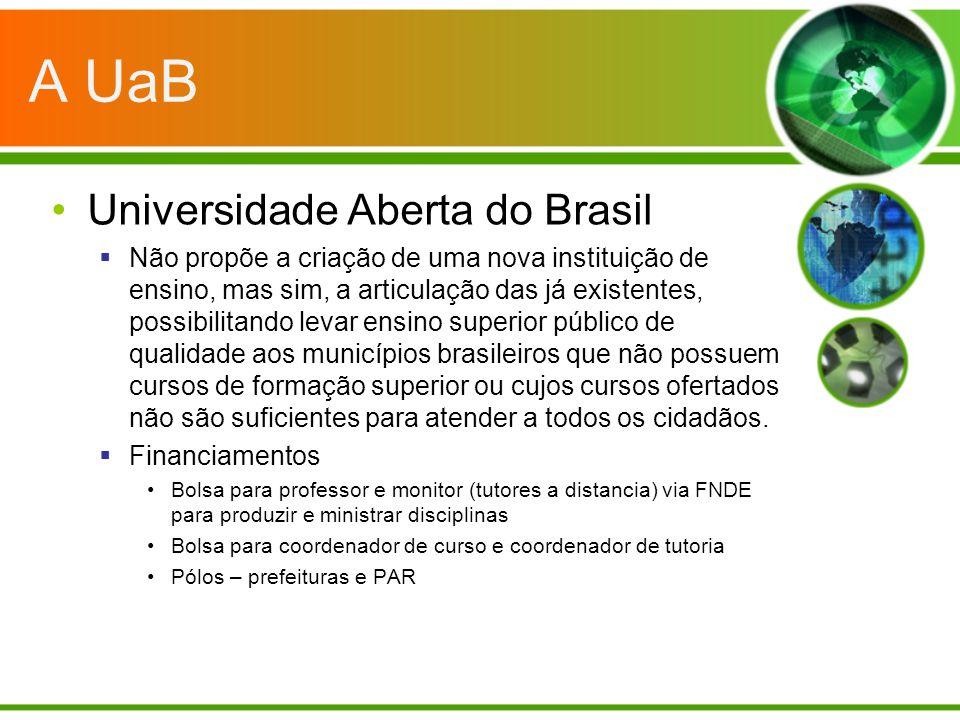 A UaB Universidade Aberta do Brasil Não propõe a criação de uma nova instituição de ensino, mas sim, a articulação das já existentes, possibilitando l
