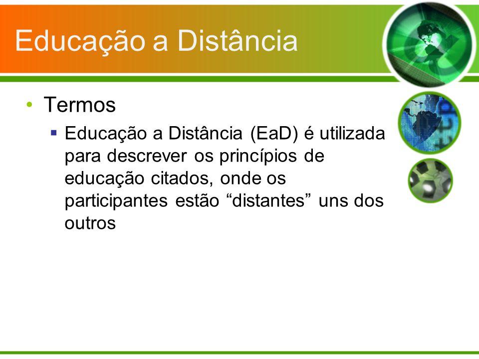 Educação a Distância Termos Educação a Distância (EaD) é utilizada para descrever os princípios de educação citados, onde os participantes estão dista