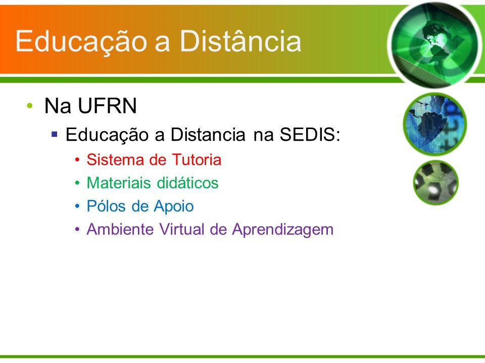 Educação a Distância Na UFRN Educação a Distancia na SEDIS: Sistema de Tutoria Materiais didáticos Pólos de Apoio Ambiente Virtual de Aprendizagem