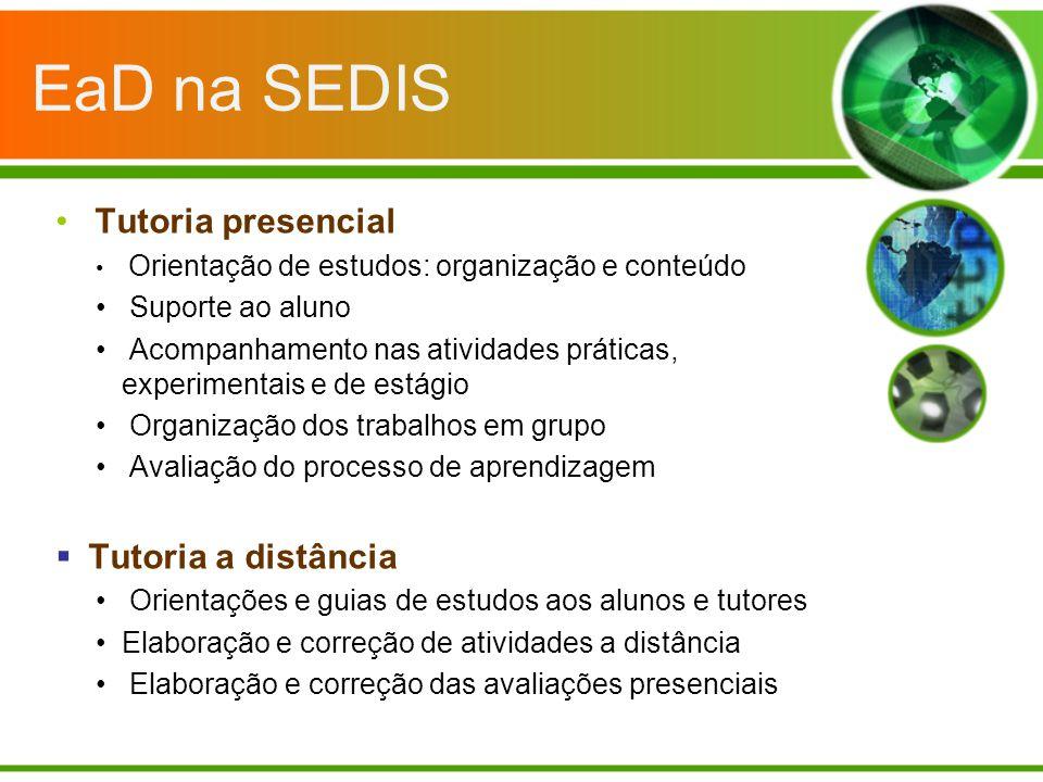 EaD na SEDIS Tutoria presencial Orientação de estudos: organização e conteúdo Suporte ao aluno Acompanhamento nas atividades práticas, experimentais e
