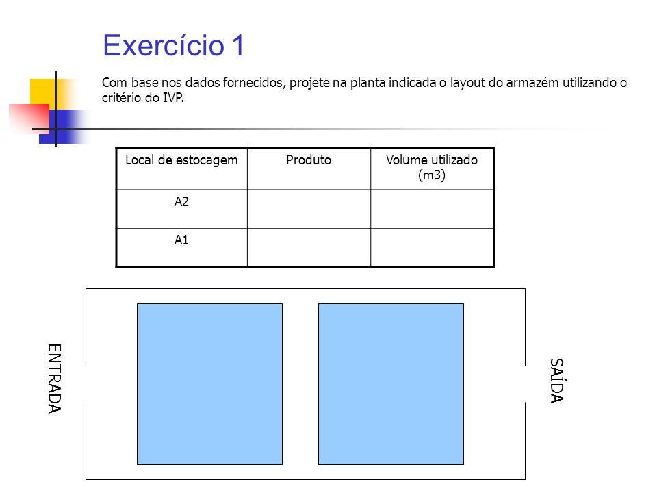 Exercício 1 Local de estocagemProdutoVolume utilizado (m3) A2 A1 Com base nos dados fornecidos, projete na planta indicada o layout do armazém utiliza