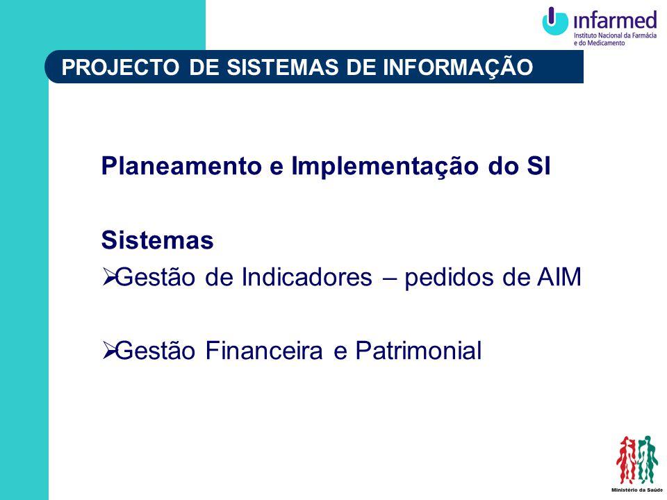 PROJECTO DE SISTEMAS DE INFORMAÇÃO Planeamento e Implementação do SI Sistemas Gestão de Indicadores – pedidos de AIM Gestão Financeira e Patrimonial