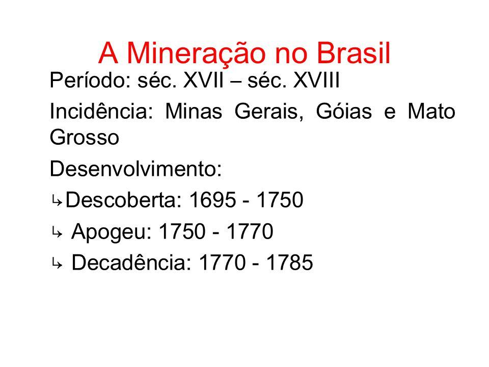 A Mineração no Brasil Período: séc. XVII – séc. XVIII Incidência: Minas Gerais, Góias e Mato Grosso Desenvolvimento: Descoberta: 1695 - 1750 Apogeu: 1