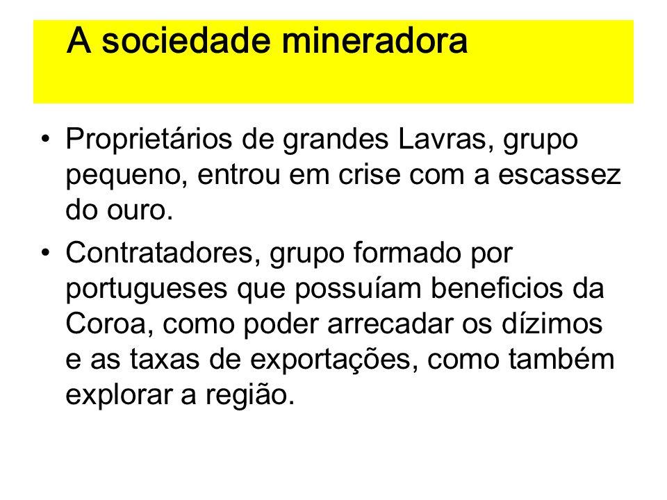 A sociedade mineradora Proprietários de grandes Lavras, grupo pequeno, entrou em crise com a escassez do ouro. Contratadores, grupo formado por portug