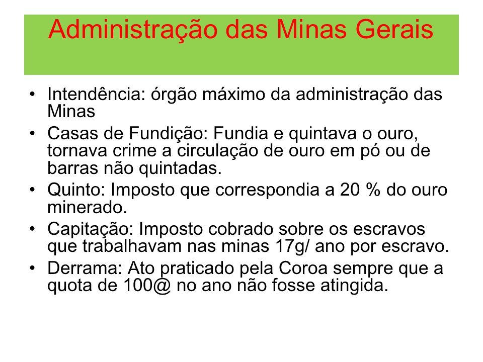 Administração das Minas Gerais Intendência: órgão máximo da administração das Minas Casas de Fundição: Fundia e quintava o ouro, tornava crime a circu