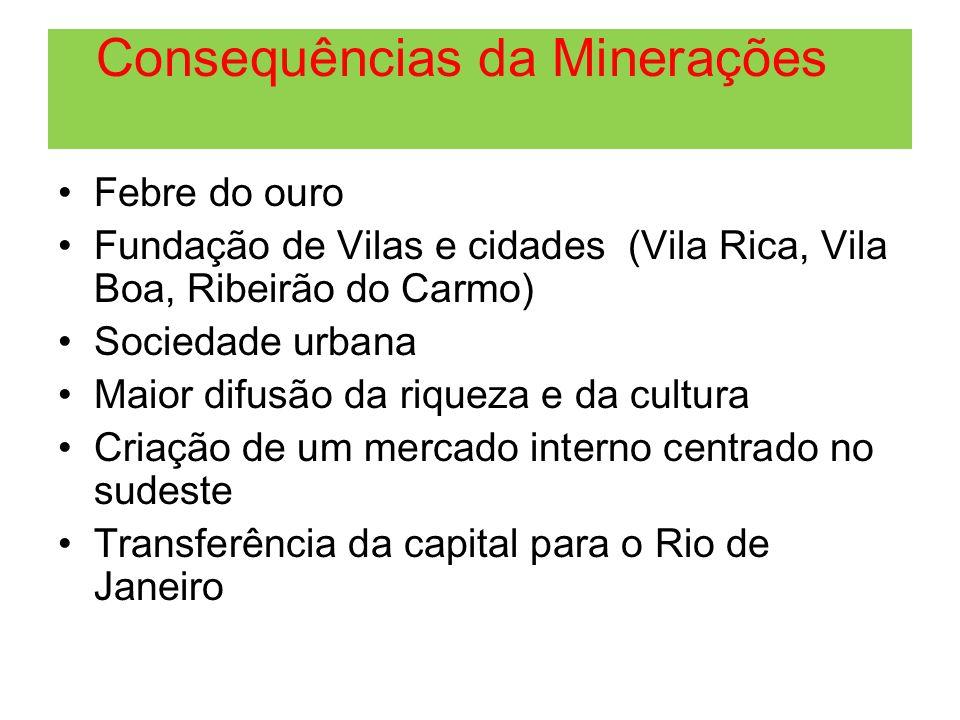 Consequências da Minerações Febre do ouro Fundação de Vilas e cidades (Vila Rica, Vila Boa, Ribeirão do Carmo) Sociedade urbana Maior difusão da rique