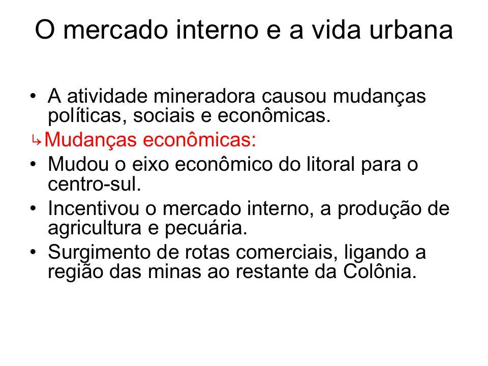 O mercado interno e a vida urbana A atividade mineradora causou mudanças políticas, sociais e econômicas. Mudanças econômicas: Mudou o eixo econômico
