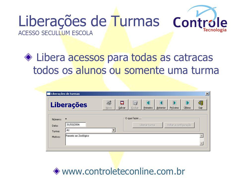 Liberações de Turmas ACESSO SECULLUM ESCOLA Libera acessos para todas as catracas todos os alunos ou somente uma turma www.controleteconline.com.br