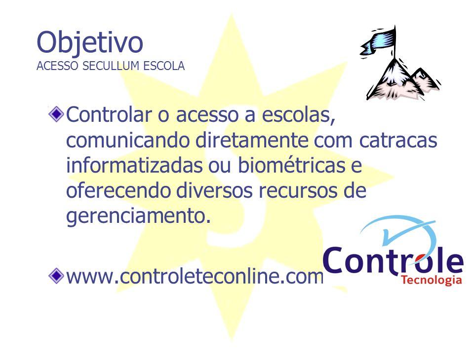 Objetivo ACESSO SECULLUM ESCOLA Controlar o acesso a escolas, comunicando diretamente com catracas informatizadas ou biométricas e oferecendo diversos