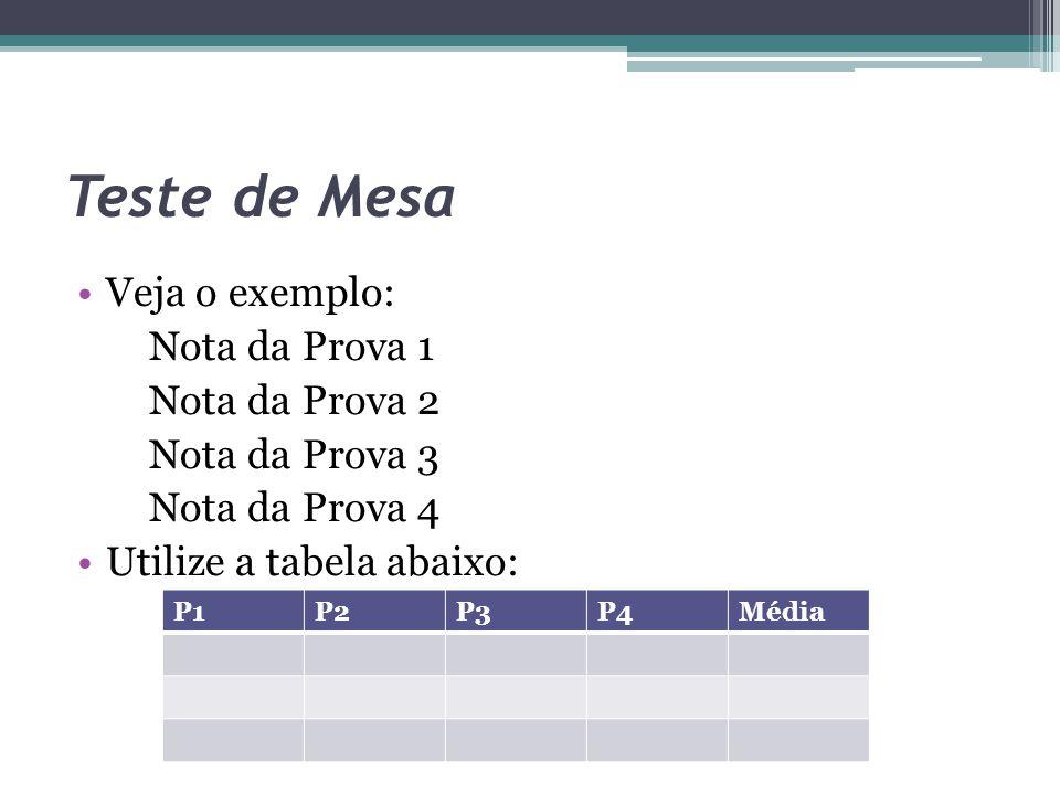 Teste de Mesa Veja o exemplo: Nota da Prova 1 Nota da Prova 2 Nota da Prova 3 Nota da Prova 4 Utilize a tabela abaixo: P1P2P3P4Média