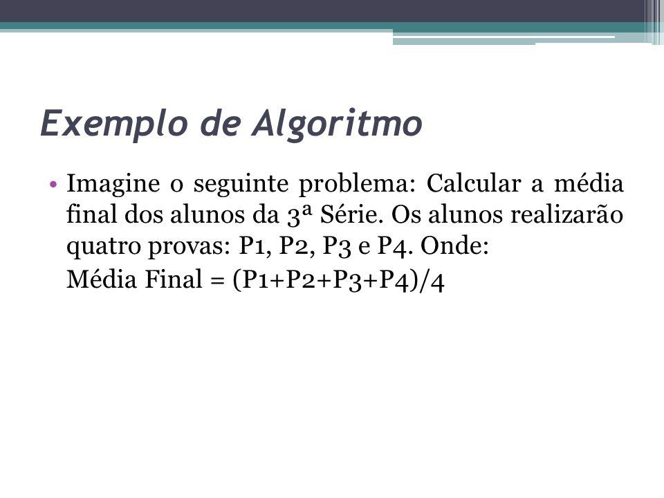 Exemplo de Algoritmo Imagine o seguinte problema: Calcular a média final dos alunos da 3ª Série. Os alunos realizarão quatro provas: P1, P2, P3 e P4.
