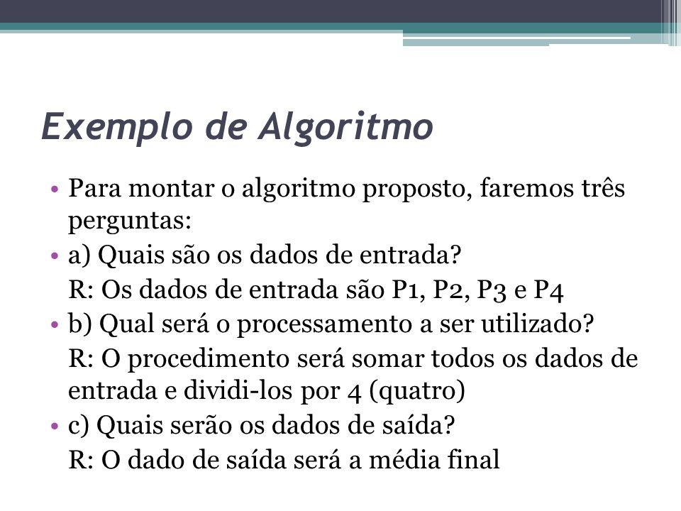 Exemplo de Algoritmo Para montar o algoritmo proposto, faremos três perguntas: a) Quais são os dados de entrada? R: Os dados de entrada são P1, P2, P3