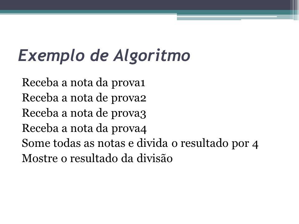 Exemplo de Algoritmo Receba a nota da prova1 Receba a nota de prova2 Receba a nota de prova3 Receba a nota da prova4 Some todas as notas e divida o re