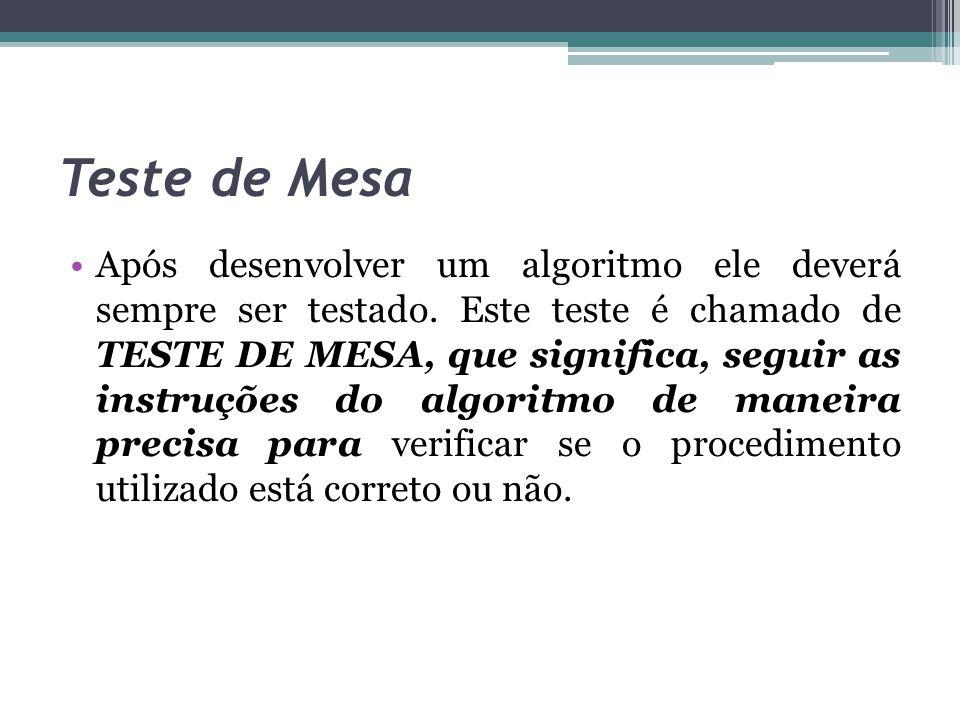 Teste de Mesa Após desenvolver um algoritmo ele deverá sempre ser testado. Este teste é chamado de TESTE DE MESA, que significa, seguir as instruções