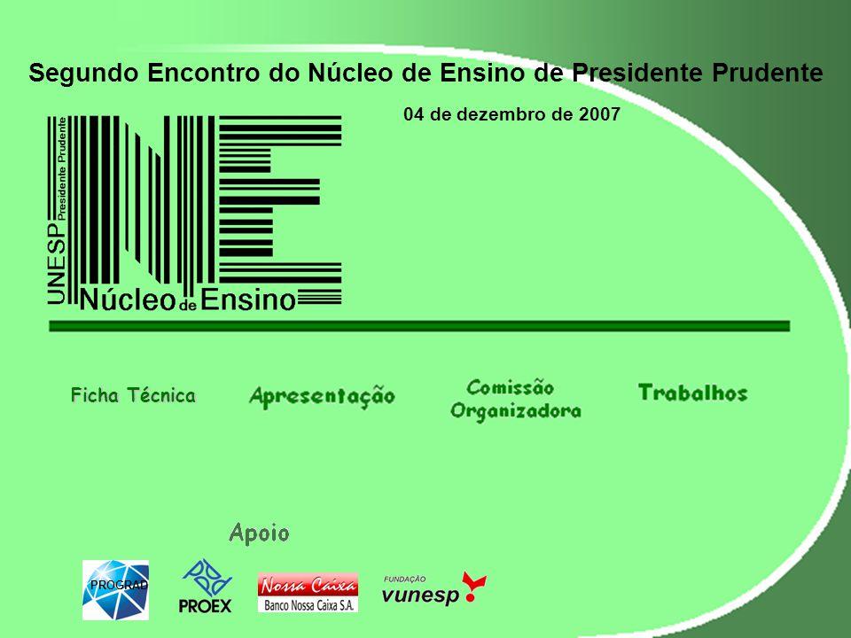 Segundo Encontro do Núcleo de Ensino de Presidente Prudente 04 de dezembro de 2007 PROGRAD Ficha Técnica Ficha Técnica