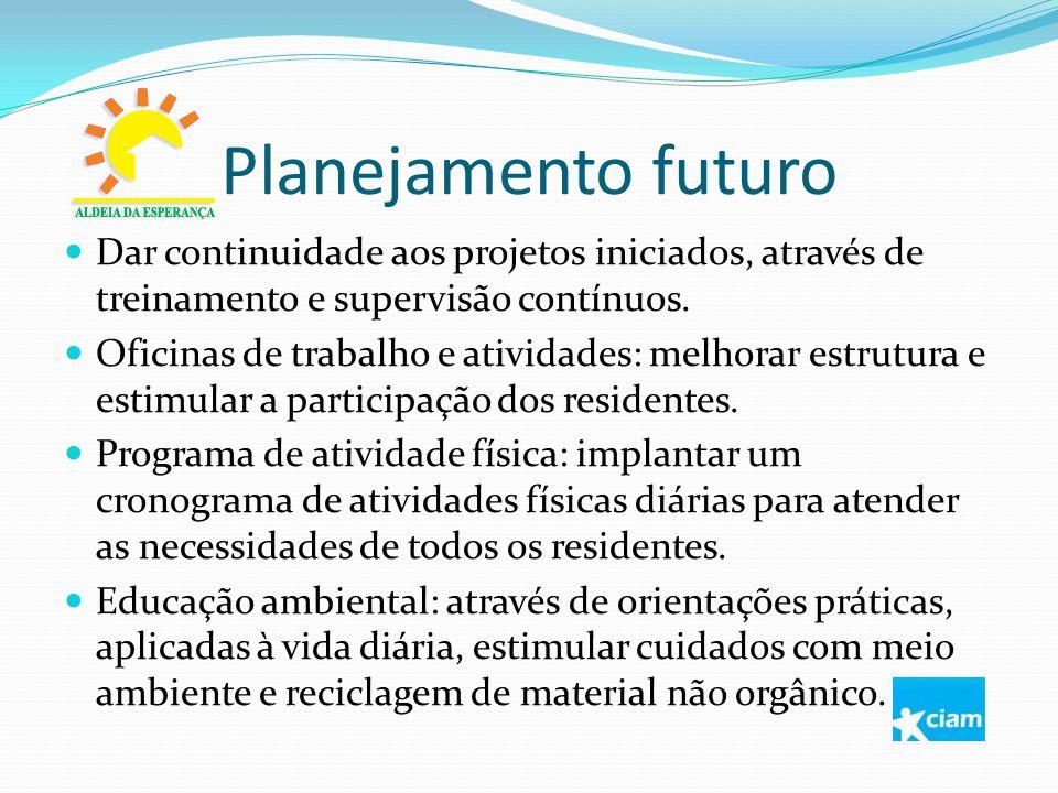 Planejamento futuro Dar continuidade aos projetos iniciados, através de treinamento e supervisão contínuos. Oficinas de trabalho e atividades: melhora