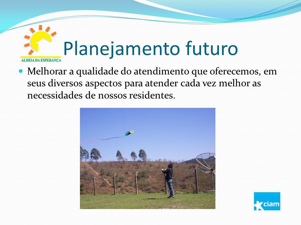 Planejamento futuro Melhorar a qualidade do atendimento que oferecemos, em seus diversos aspectos para atender cada vez melhor as necessidades de noss