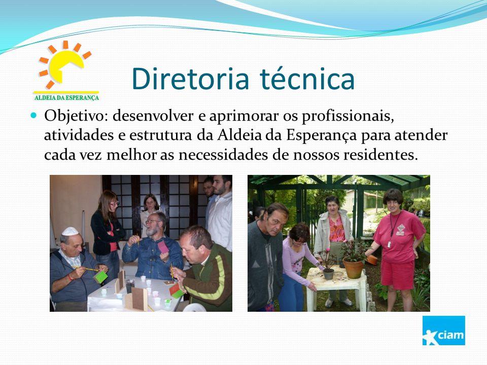 Diretoria técnica Objetivo: desenvolver e aprimorar os profissionais, atividades e estrutura da Aldeia da Esperança para atender cada vez melhor as ne