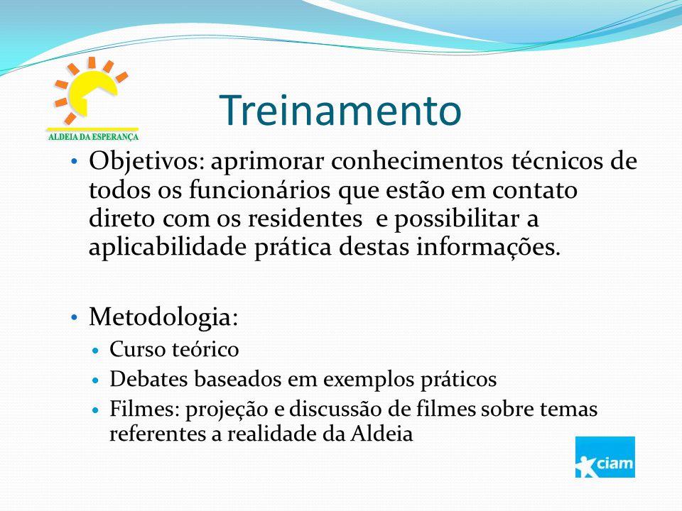Treinamento Objetivos: aprimorar conhecimentos técnicos de todos os funcionários que estão em contato direto com os residentes e possibilitar a aplica
