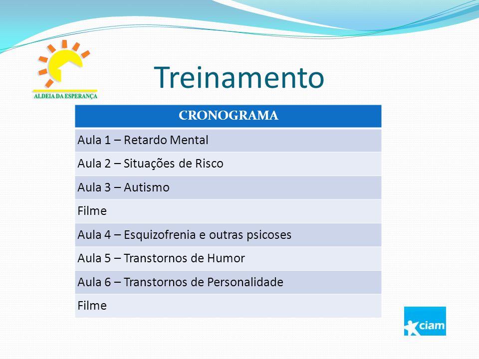 Treinamento CRONOGRAMA Aula 1 – Retardo Mental Aula 2 – Situações de Risco Aula 3 – Autismo Filme Aula 4 – Esquizofrenia e outras psicoses Aula 5 – Tr