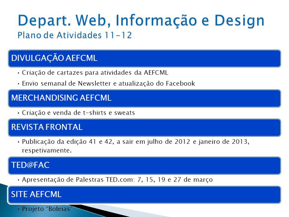 DIVULGAÇÃO AEFCML Criação de cartazes para atividades da AEFCML Envio semanal de Newsletter e atualização do Facebook MERCHANDISING AEFCML Criação e v