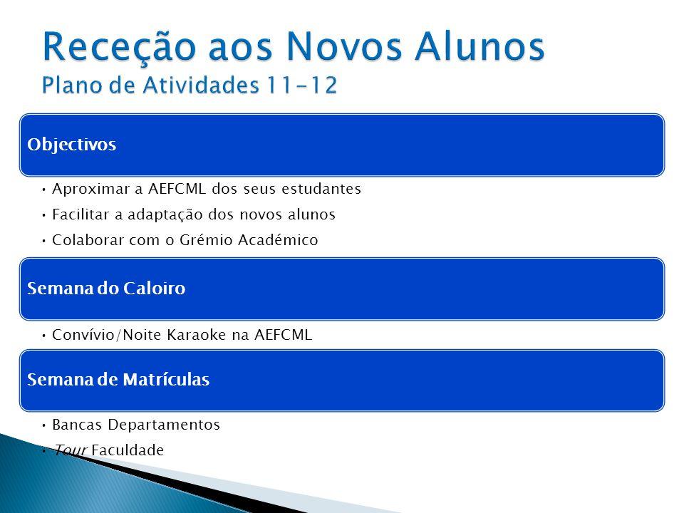 Objectivos Aproximar a AEFCML dos seus estudantes Facilitar a adaptação dos novos alunos Colaborar com o Grémio Académico Semana do Caloiro Convívio/N