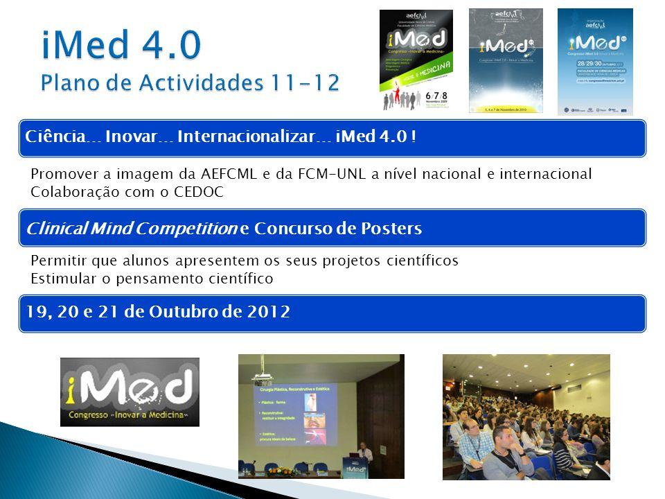 Ciência… Inovar… Internacionalizar… iMed 4.0 !19, 20 e 21 de Outubro de 2012 Promover a imagem da AEFCML e da FCM-UNL a nível nacional e internacional