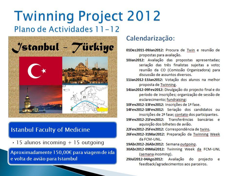Istanbul Faculty of Medicine 15 alunos incoming + 15 outgoing Aproximadamente 150,00 para viagem de ida e volta de avião para Istambul