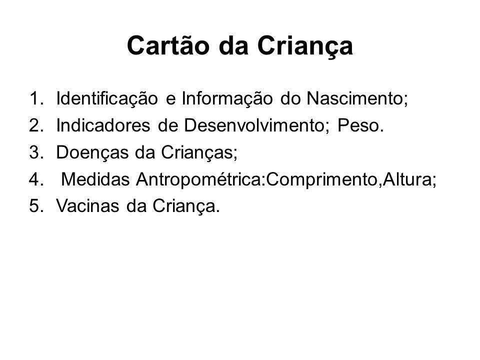 Cartão da Criança 1.Identificação e Informação do Nascimento; 2.Indicadores de Desenvolvimento; Peso. 3.Doenças da Crianças; 4. Medidas Antropométrica
