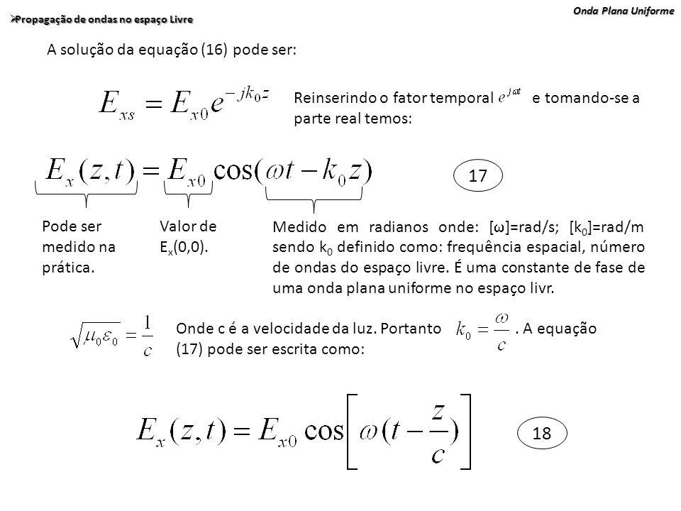 Onda Plana Uniforme Propagação de ondas no espaço Livre Propagação de ondas no espaço Livre A solução da equação (16) pode ser: Reinserindo o fator te