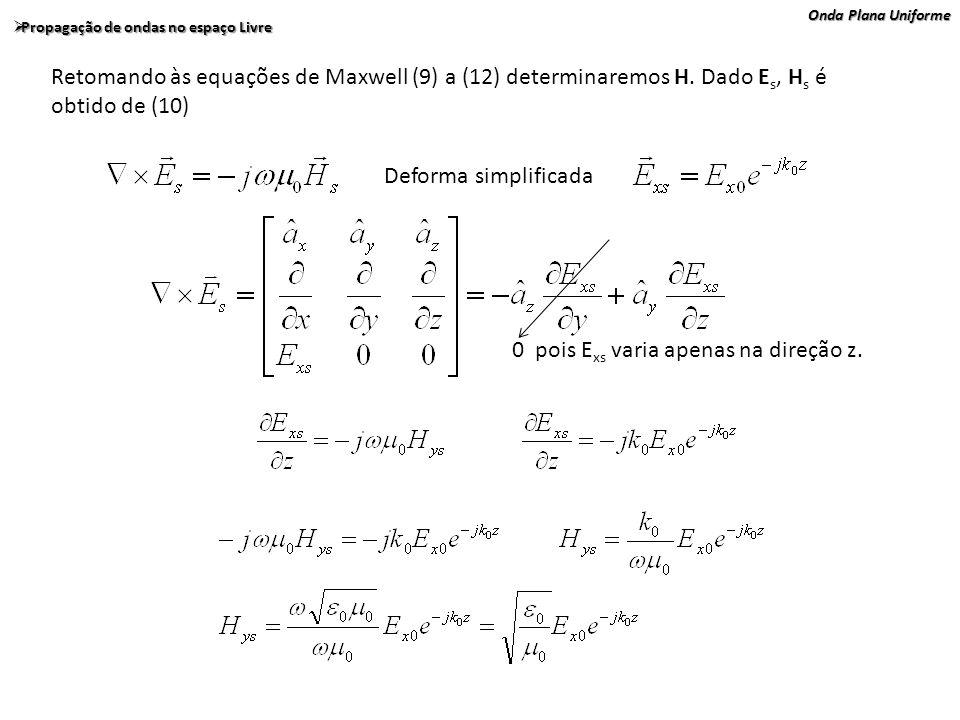 Onda Plana Uniforme Propagação de ondas no espaço Livre Propagação de ondas no espaço Livre Retomando às equações de Maxwell (9) a (12) determinaremos