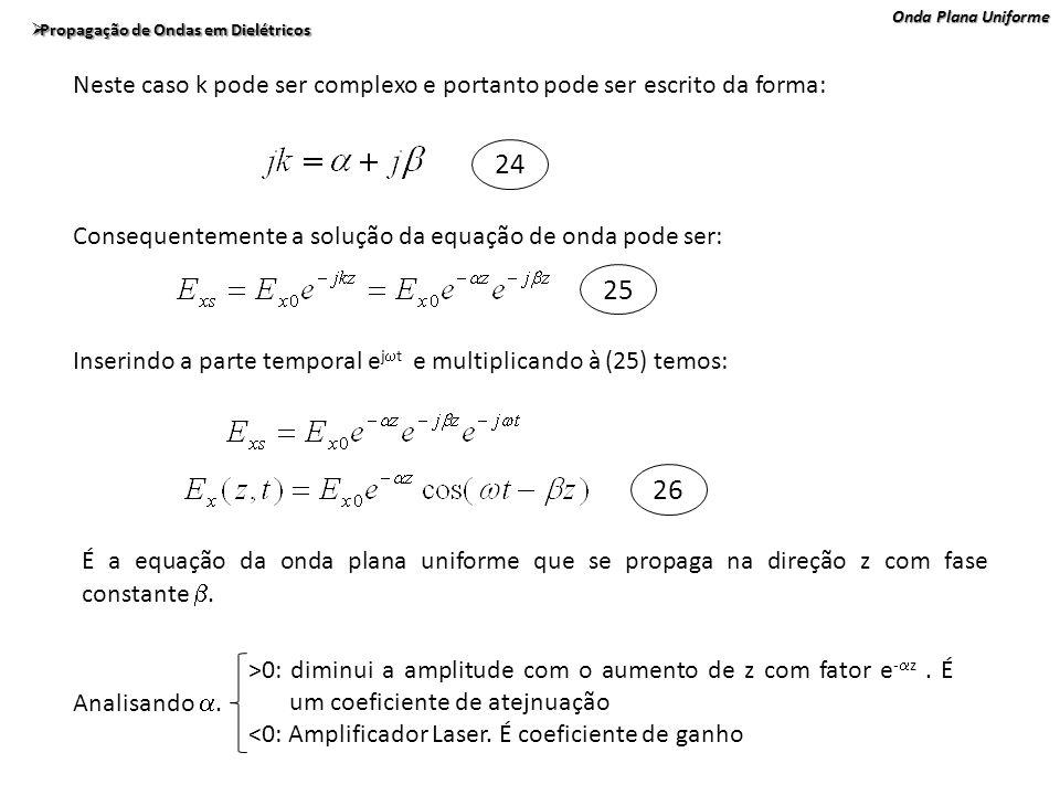 Onda Plana Uniforme Propagação de Ondas em Dielétricos Propagação de Ondas em Dielétricos Neste caso k pode ser complexo e portanto pode ser escrito d