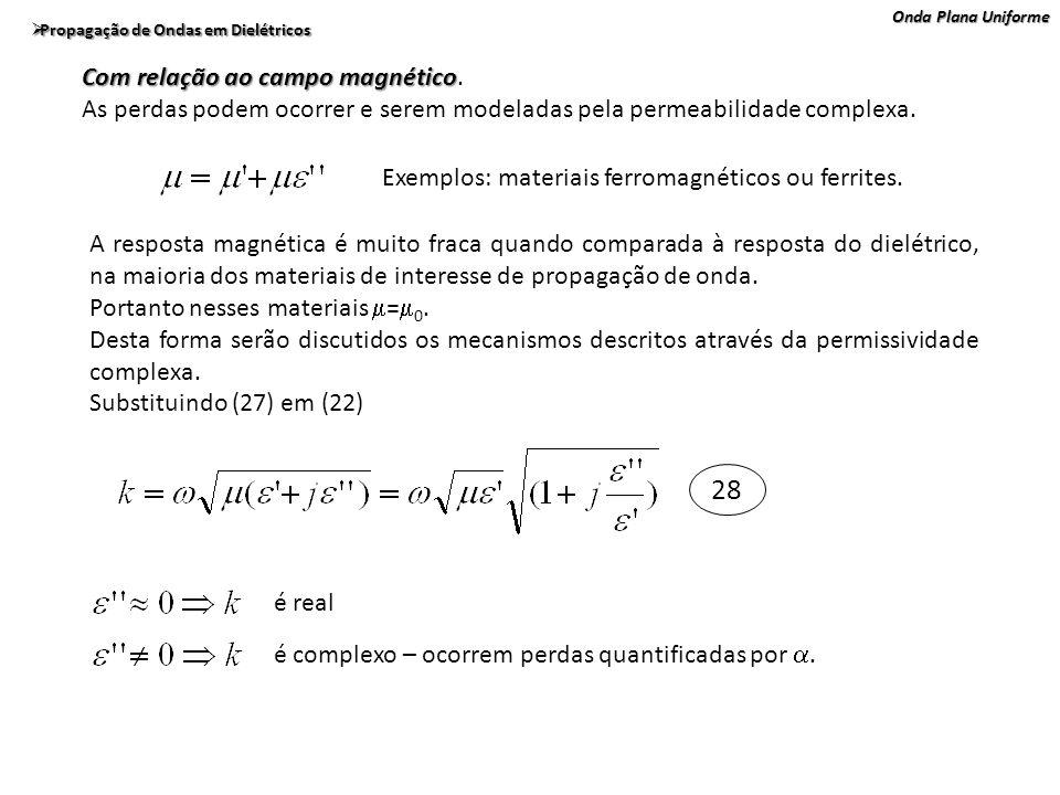 Onda Plana Uniforme Propagação de Ondas em Dielétricos Propagação de Ondas em Dielétricos Com relação ao campo magnético Com relação ao campo magnétic
