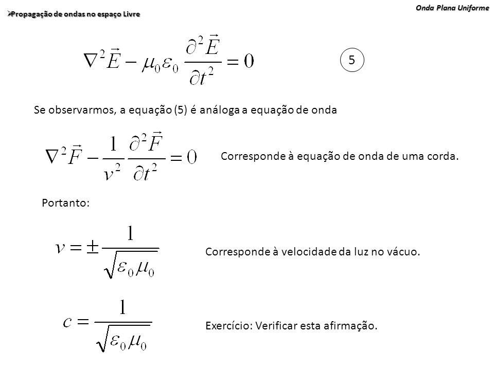 Onda Plana Uniforme Propagação de ondas no espaço Livre Propagação de ondas no espaço Livre 5 Se observarmos, a equação (5) é análoga a equação de ond