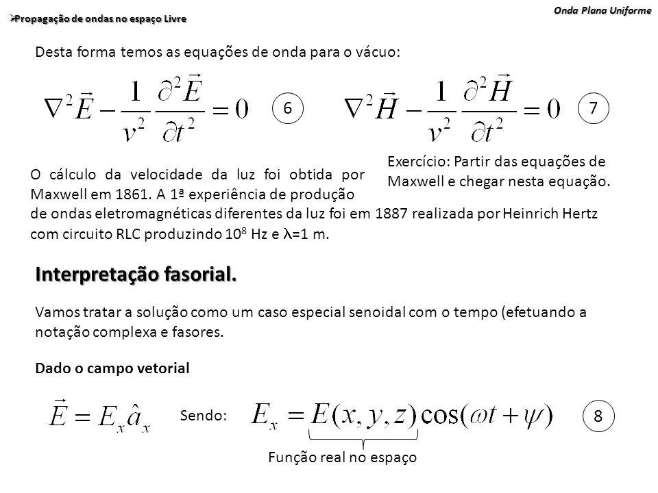 Onda Plana Uniforme Propagação de ondas no espaço Livre Propagação de ondas no espaço Livre Lembrando a identidade de Euler: Onde j é 0 número imaginário: Re indica a parte real da função.