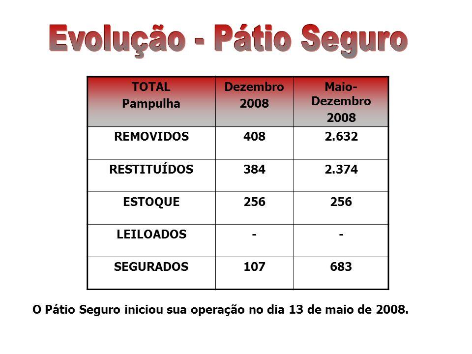 TOTAL Pampulha Dezembro 2008 Maio- Dezembro 2008 REMOVIDOS4082.632 RESTITUÍDOS3842.374 ESTOQUE256 LEILOADOS-- SEGURADOS107683 O Pátio Seguro iniciou sua operação no dia 13 de maio de 2008.