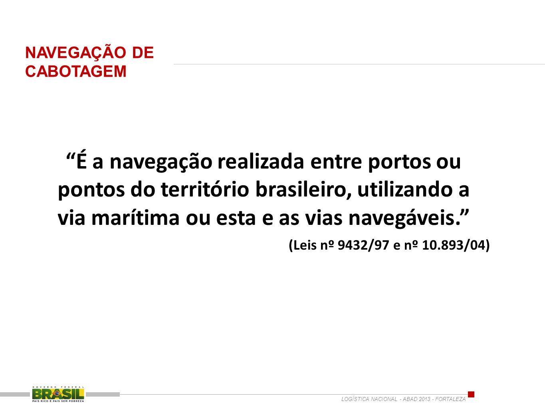 É a navegação realizada entre portos ou pontos do território brasileiro, utilizando a via marítima ou esta e as vias navegáveis. (Leis nº 9432/97 e nº