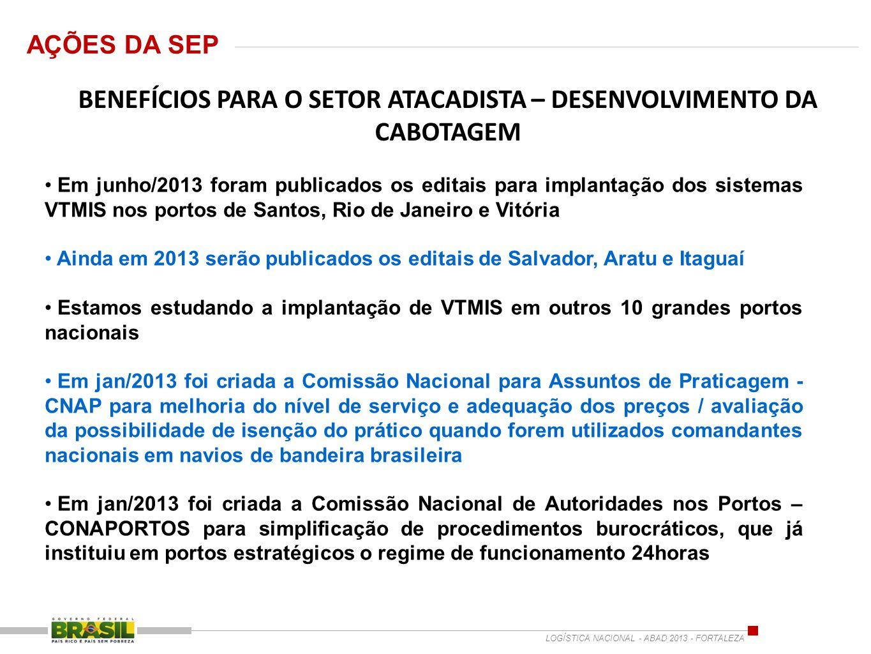 BENEFÍCIOS PARA O SETOR ATACADISTA – DESENVOLVIMENTO DA CABOTAGEM Em junho/2013 foram publicados os editais para implantação dos sistemas VTMIS nos po
