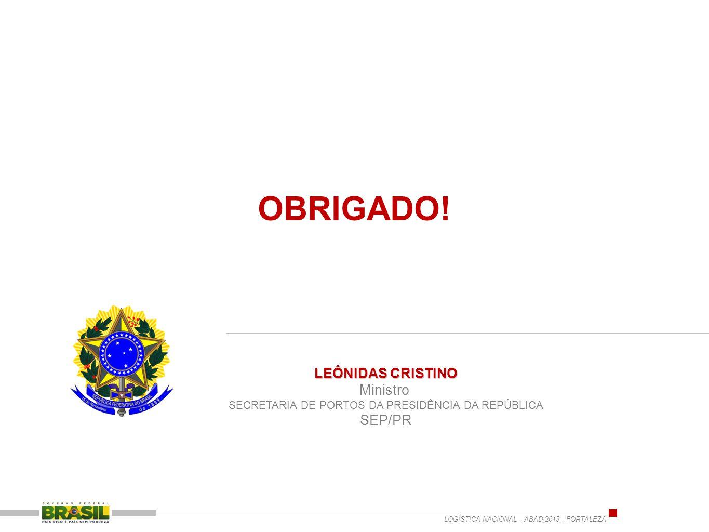 LEÔNIDAS CRISTINO Ministro SECRETARIA DE PORTOS DA PRESIDÊNCIA DA REPÚBLICA SEP/PR LOGÍSTICA NACIONAL - ABAD 2013 - FORTALEZA OBRIGADO!